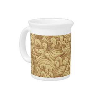 Golden Tsunami Ocean Tidal Waves Wheat Color Sea Pitcher