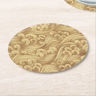 Golden Tsunami Ocean Tidal Waves Wheat Color Sea Round Paper Coaster
