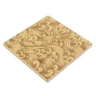 Golden Tsunami Ocean Tidal Waves Wheat Color Sea Wooden Coaster