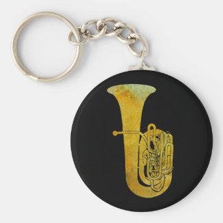 Golden Tuba Basic Round Button Keychain