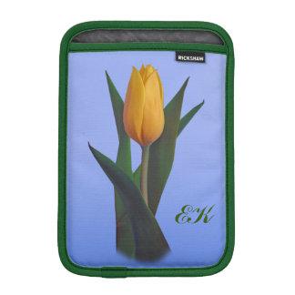 Golden Tulip Flower, Monogram Sleeve For iPad Mini