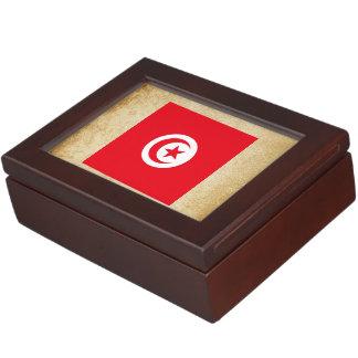 Golden Tunisia Flag Keepsake Boxes