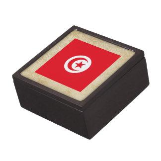 Golden Tunisia Flag Premium Jewelry Box
