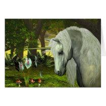 unicorn, horses, magic, fantasy, fairytale, tale, fable, creature, horn, myth, mythology, mare, stallion, equine, equus, steed, animals, mammal, mount, wild, herd, beast, beautiful, beauty, foal, charger, buck, livestock, horsepower, colt, filly, gelding, bronco, courser, prancer, fawn, stag, doe, golden, unicorns, Cartão com design gráfico personalizado