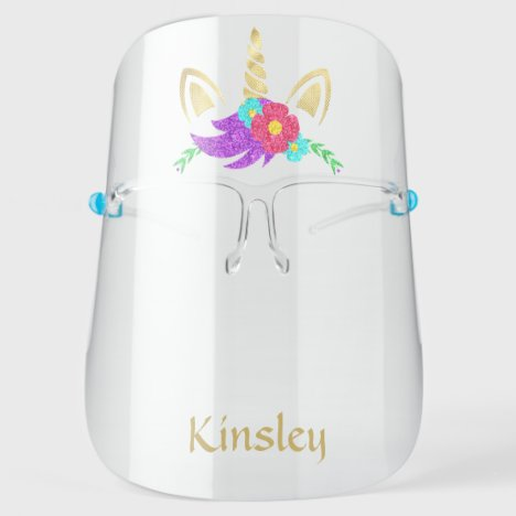 Golden Unicorn Personalized Face Shield