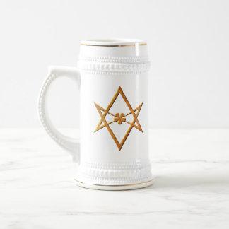 Golden Unicursal Hexagram - thelemic symbol Beer Stein