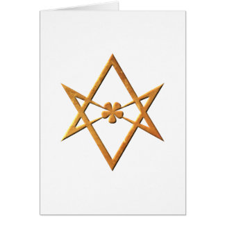Golden Unicursal Hexagram - thelemic symbol Card
