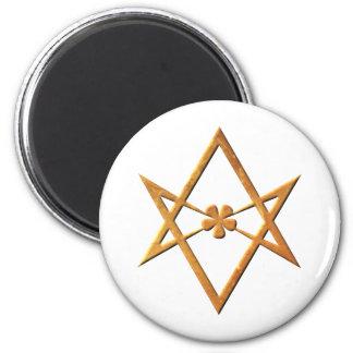 Golden Unicursal Hexagram - thelemic symbol 2 Inch Round Magnet
