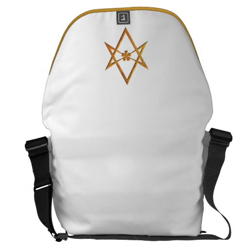 Golden Unicursal Hexagram - thelemic symbol Messenger Bag