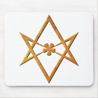 Golden Unicursal Hexagram - thelemic symbol Mouse Pad