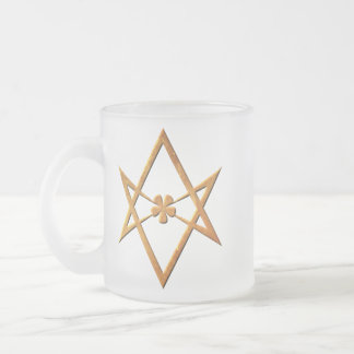 Golden Unicursal Hexagram - thelemic symbol 10 Oz Frosted Glass Coffee Mug