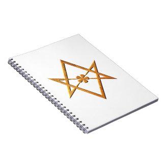 Golden Unicursal Hexagram - thelemic symbol Notebook