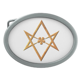 Golden Unicursal Hexagram - thelemic symbol Oval Belt Buckle