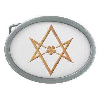 Golden Unicursal Hexagram - thelemic symbol Oval Belt Buckle