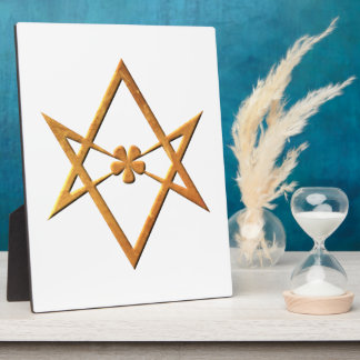 Golden Unicursal Hexagram - thelemic symbol Plaque