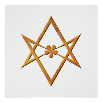 Golden Unicursal Hexagram - thelemic symbol Poster