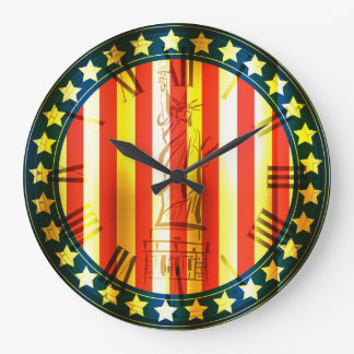 Golden USA Abstract Flag With Statue Of Liberty Large Clock