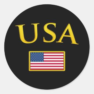 Golden USA Classic Round Sticker