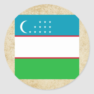 Golden Uzbekistan Flag Classic Round Sticker