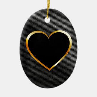 Golden Valentine heart on metal background Ceramic Ornament