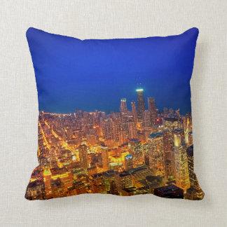 Golden Valleys of Chicago - Dusk From Above Pillow