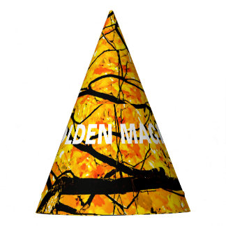 Golden Veins Of Autumn Magic Party Hat