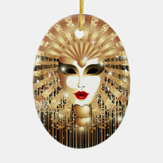 Golden Venice Carnival Party Mask Christmas Ornament