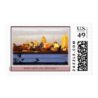 Golden View of Harrisburg, Pa Postage Stamp