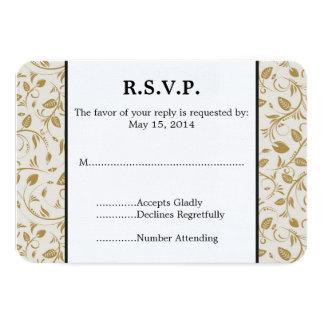 Golden Vines Wedding RSVP 3.5x5 Paper Invitation Card