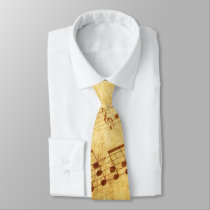 Golden Vintage Antique Sheet Music Score Sheet Neck Tie