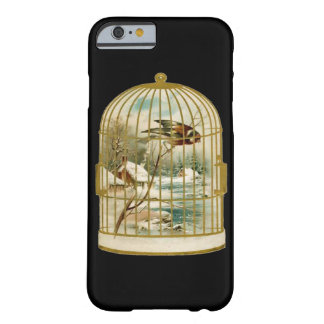 Golden Vintage Bird Cage Winter Scene Barely There iPhone 6 Case