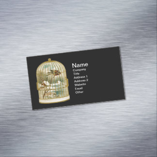 Golden Vintage Bird Cage Winter Scene Business Card Magnet