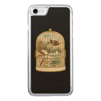 Golden Vintage Bird Cage Winter Scene Carved iPhone 7 Case