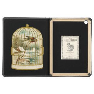 Golden Vintage Bird Cage Winter Scene iPad Air Cover