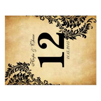 Golden Vintage Damask Swirls Table Number Cards