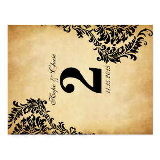 Golden Vintage Damask Swirls Table Number Cards