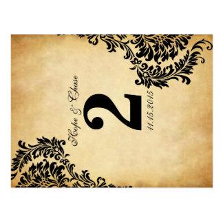 Golden Vintage Damask Swirls Table Number Cards Postcard