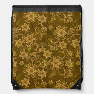 Golden vintage floral pattern drawstring bag