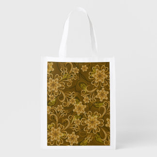Golden vintage floral pattern grocery bag
