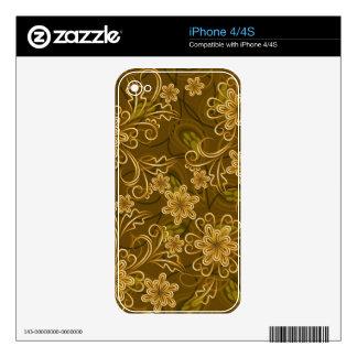 Golden vintage floral pattern iPhone 4S skin