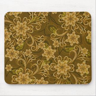 Golden vintage floral pattern mouse pads