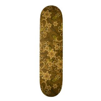Golden vintage floral pattern skateboard