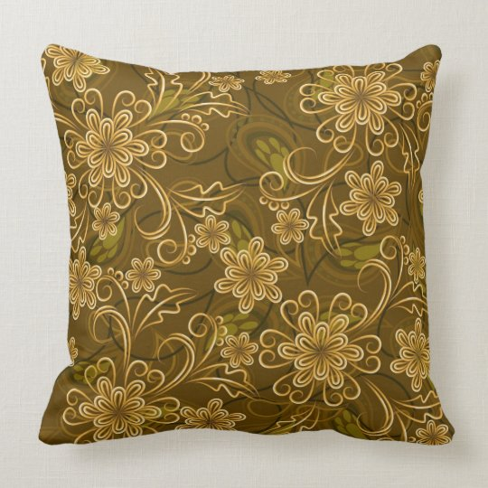 Golden vintage floral pattern throw pillow