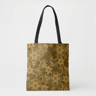 Golden vintage floral pattern tote bag
