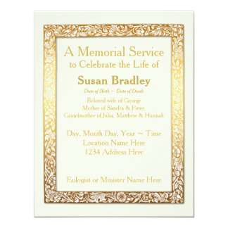 Golden Vintage Frame Memorial Service Card
