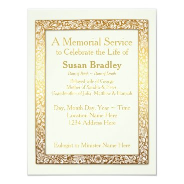 InMemory Golden Vintage Frame Memorial Service Card