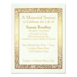 """Golden Vintage Frame - Memorial Service 4.25"""" X 5.5"""" Invitation Card"""