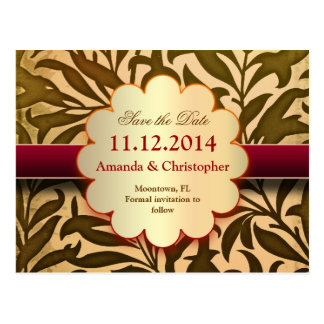 golden vintage grungy save the date postcards