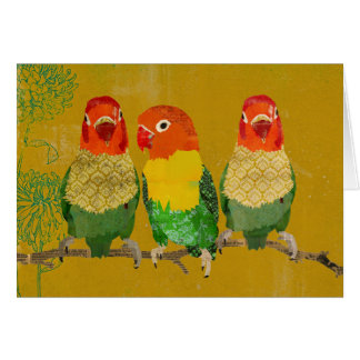 Golden Vintage Love Birds Notecard Greeting Cards