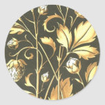 Golden vintage plant and flowers Round Stickers